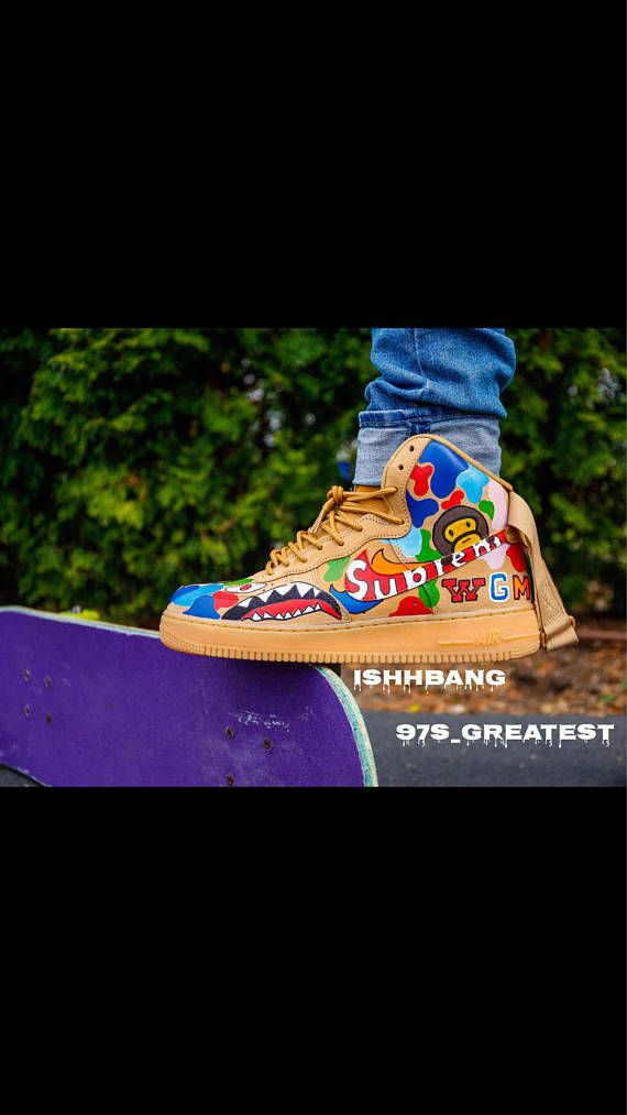 You are viewing our customized pair of wheat AF1s. Note that all bape  colorways may come out different 4074b3bd8