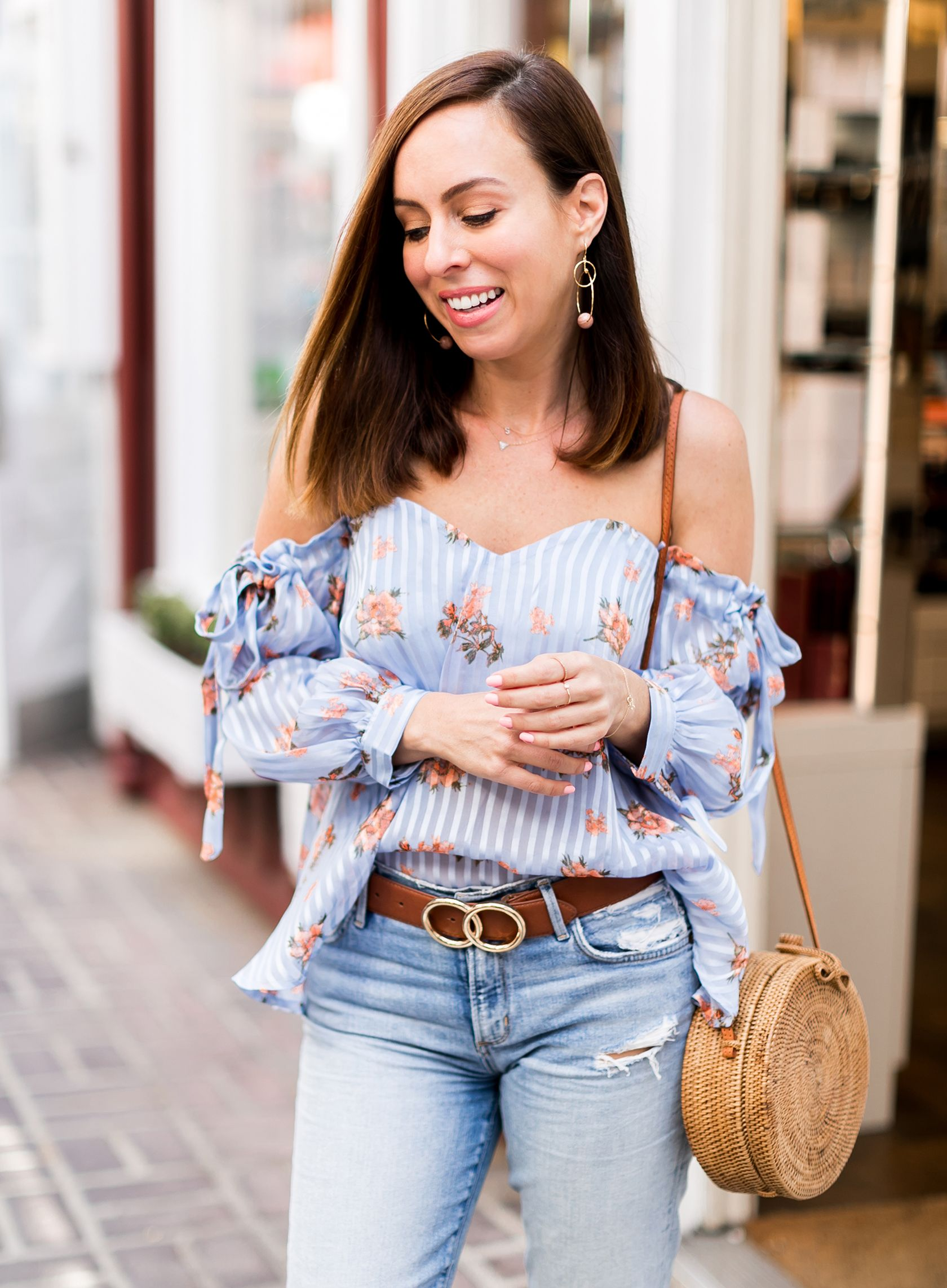 2af37416359 Sydne Style wears astr floral off the shoulder top for summer outfit ideas  #jeans #casualoutfits #florals #straw