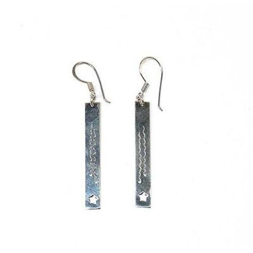 lightweight 92.5 sterling silver bar charm earrings abalone inlay