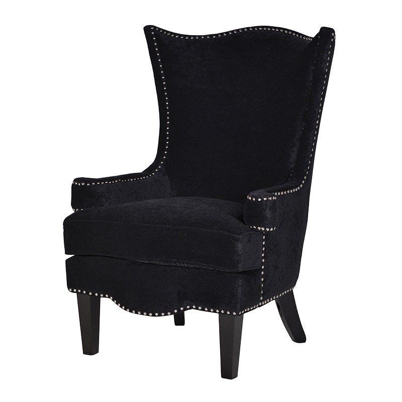 Silver Studded Black Velvet High Backed Armchair Studded Chair