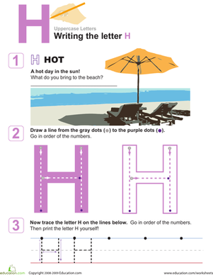 H is for Hot! Practice Writing the Letter H   Alphabet letters ...