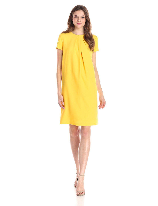 Cap Sleeve Pleat Front Shift Dress By Anne Klein Short Sleeve Shift Dress Shift Dress Suits For Women [ 1500 x 1154 Pixel ]
