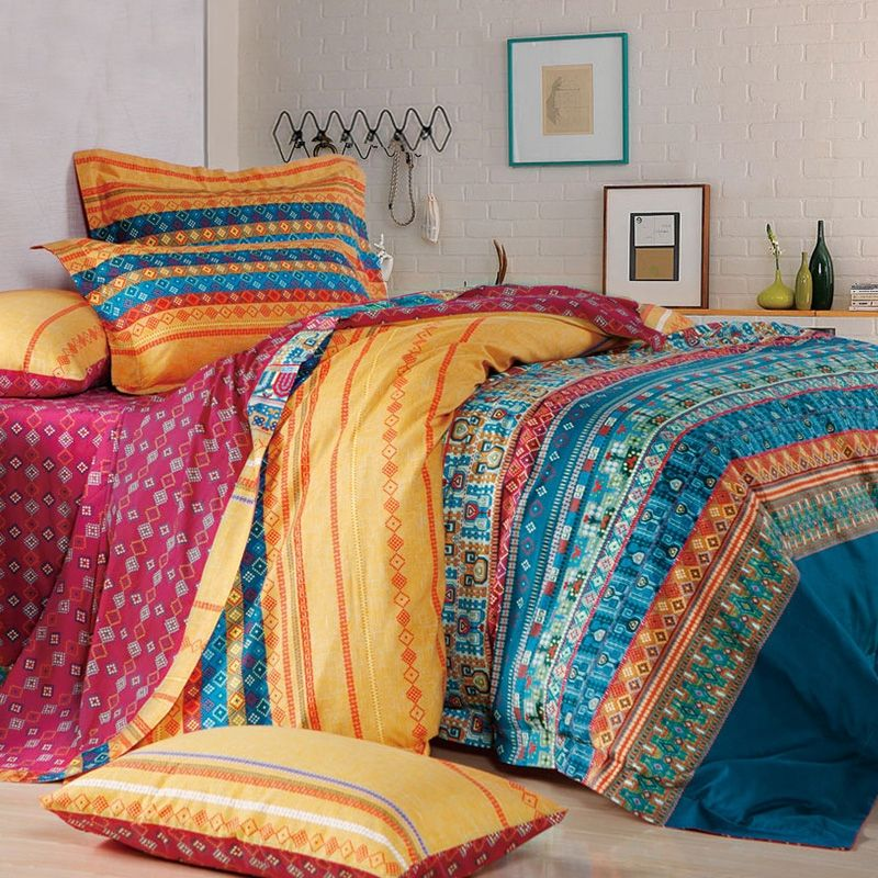 teal blue yellow and red personalized bohemian chic tribal pattern and geometric stripe print. Black Bedroom Furniture Sets. Home Design Ideas