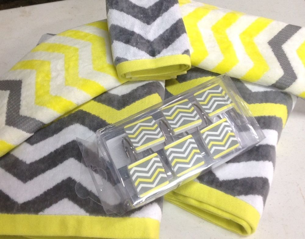 17 Pc Chevron Bright Yellow Gray White Bathroom Set Bath Towel Shower Hooks  NEW chevron