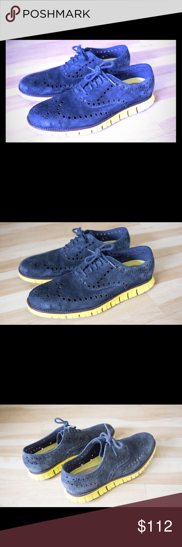 Cole Haan US 8.5 Used, Great Condition Men's US 8.5  Cole Hann Zerogrand Reverse  Deep Blue, Yellow Shoes Oxfords & Derbys