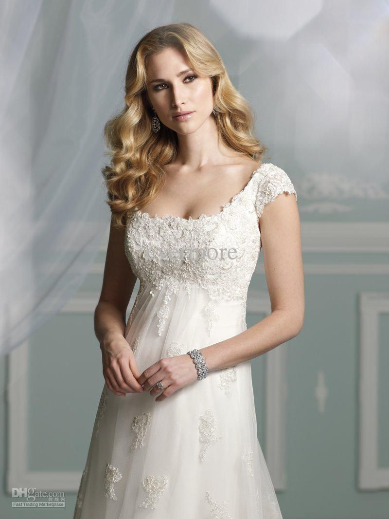 wedding dress allure gown vneck chiffon and lace backless