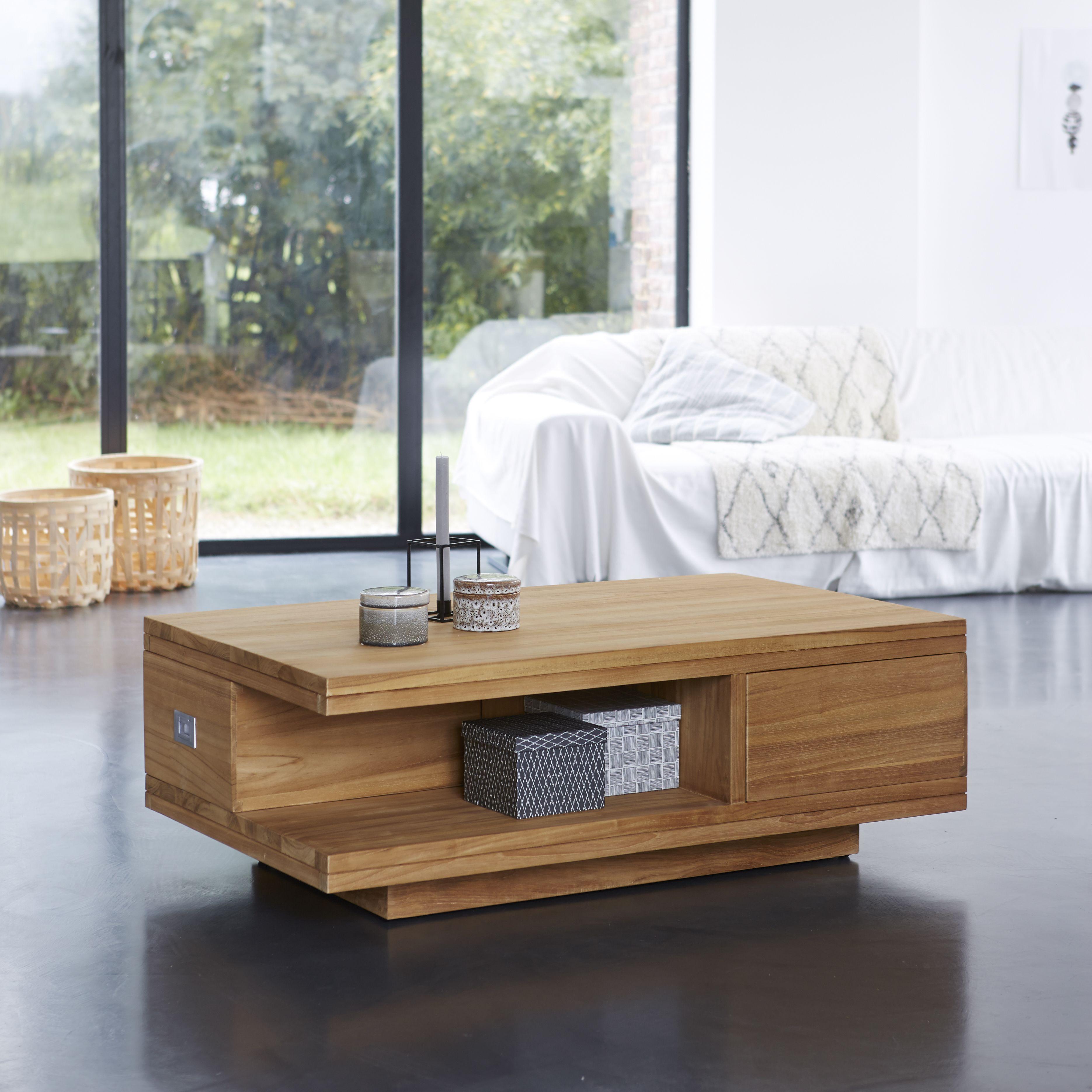 Cette Magnifique Table Basse En Teck Naturel Est L Element Ideal Pour Votre Salon Lignes Simples Et Modernes Fi Table Basse Teck Table Basse Bois Table Basse
