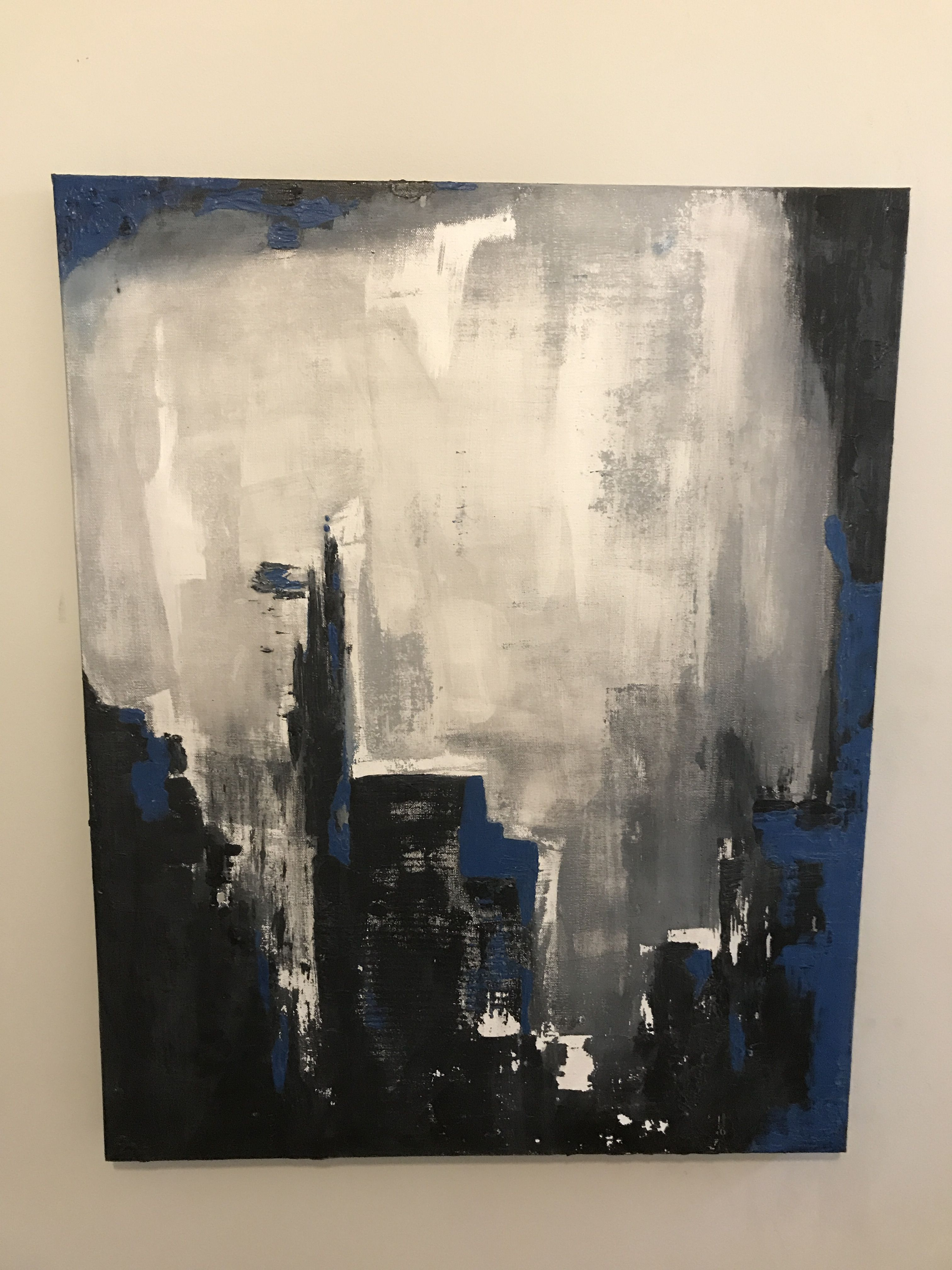 Acrylic Painting By Designbyamanda Abstract Blue Charcoal