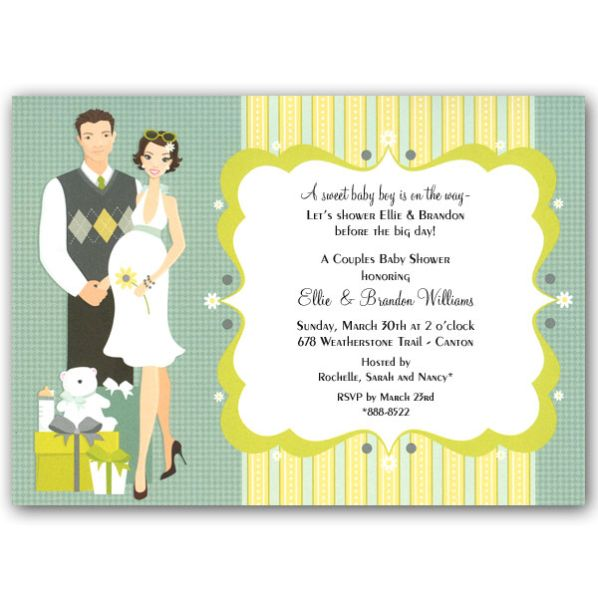 Attractive Baby Shower Invitations, Happy Couple Blue Baby Shower Invitations  Clearance Peach Whie Background Desing ~
