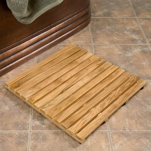 made of all natural teak wood this square shower mat is ideal for use in showers or as a mat outside the tub or shower - Teak Bath Mat