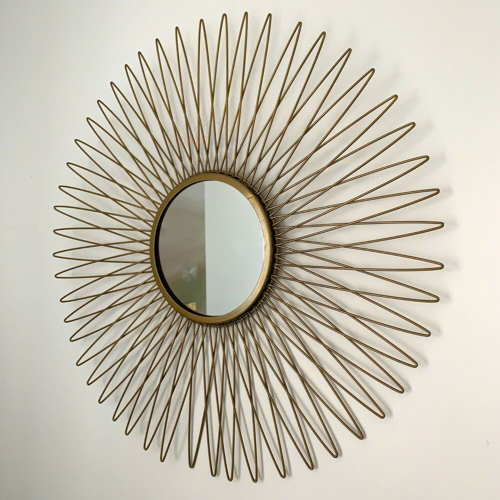 Large Vintage Gold Metal Frame Sunburst Home Decorative Round Glass Wall Mirror Ebay Mirror Wall Gold Sunburst Mirror Round Wall Mirror