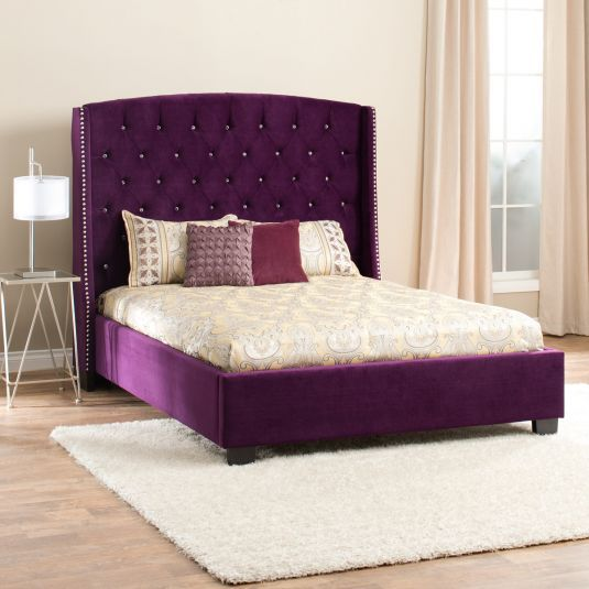 Purple Beds Purple Upholstered Bed Diva Queen Bed Jerome 039