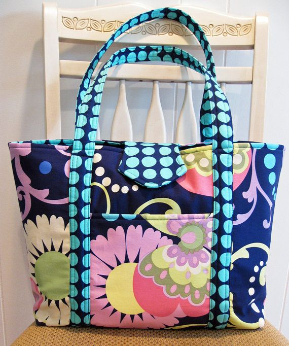 85fdc9158f5a Large Handmade Fabric Tote Bag in Navy Greens Pinks by ByJudianne ...