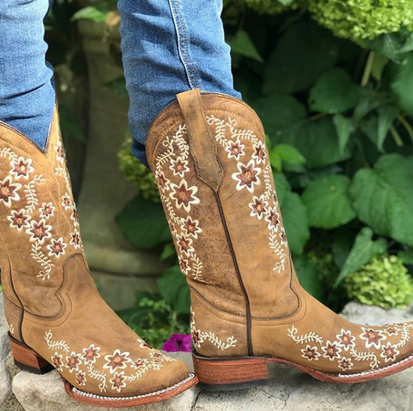Circle G Womens Floral Embroidered Cowboy Boots Tan Boots Boots Cowgirl Country Cowgirl Boots