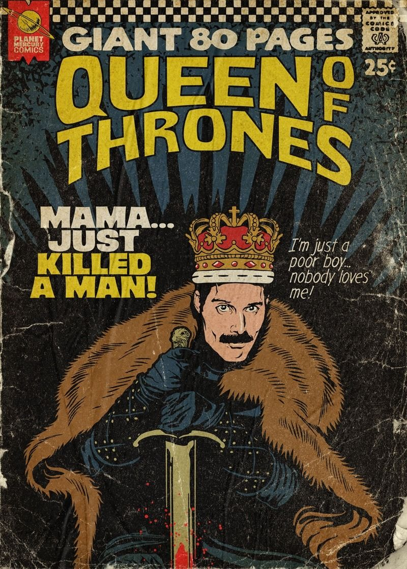 Queen Songs wurden von Butcher Billy in Retro Comic Book Cover verwandelt   Popkultur wird Kunst