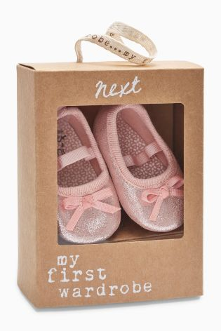 Pink Sparkle Ballerina Pram Shoes (0-18mths) from Next