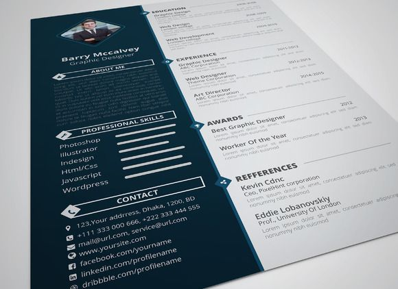 Personal Resume Template (CV) by themefisher on Creative Market