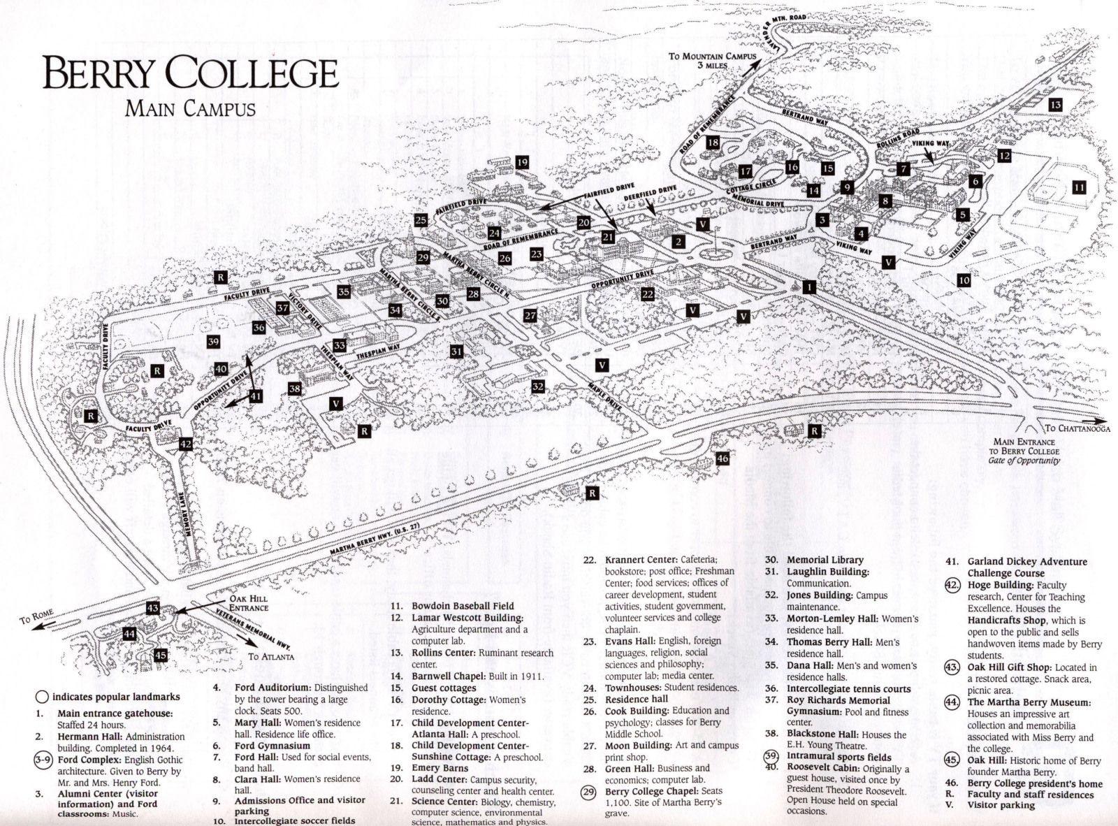 Campus Map Main Campus Berry College