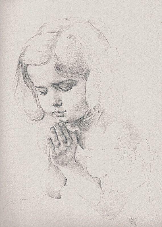 Child Praying Original 12 x 9 Graphite Drawing by BMBart ...