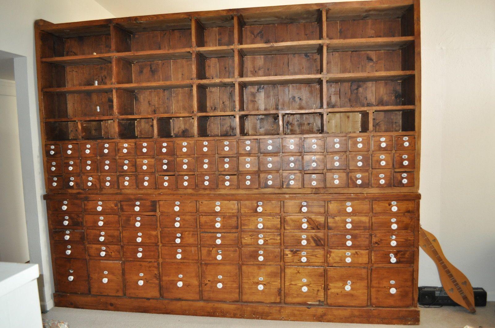 Antique Vintage Apothecary Cabinet Wood 99 Drawer Austrian Enamel