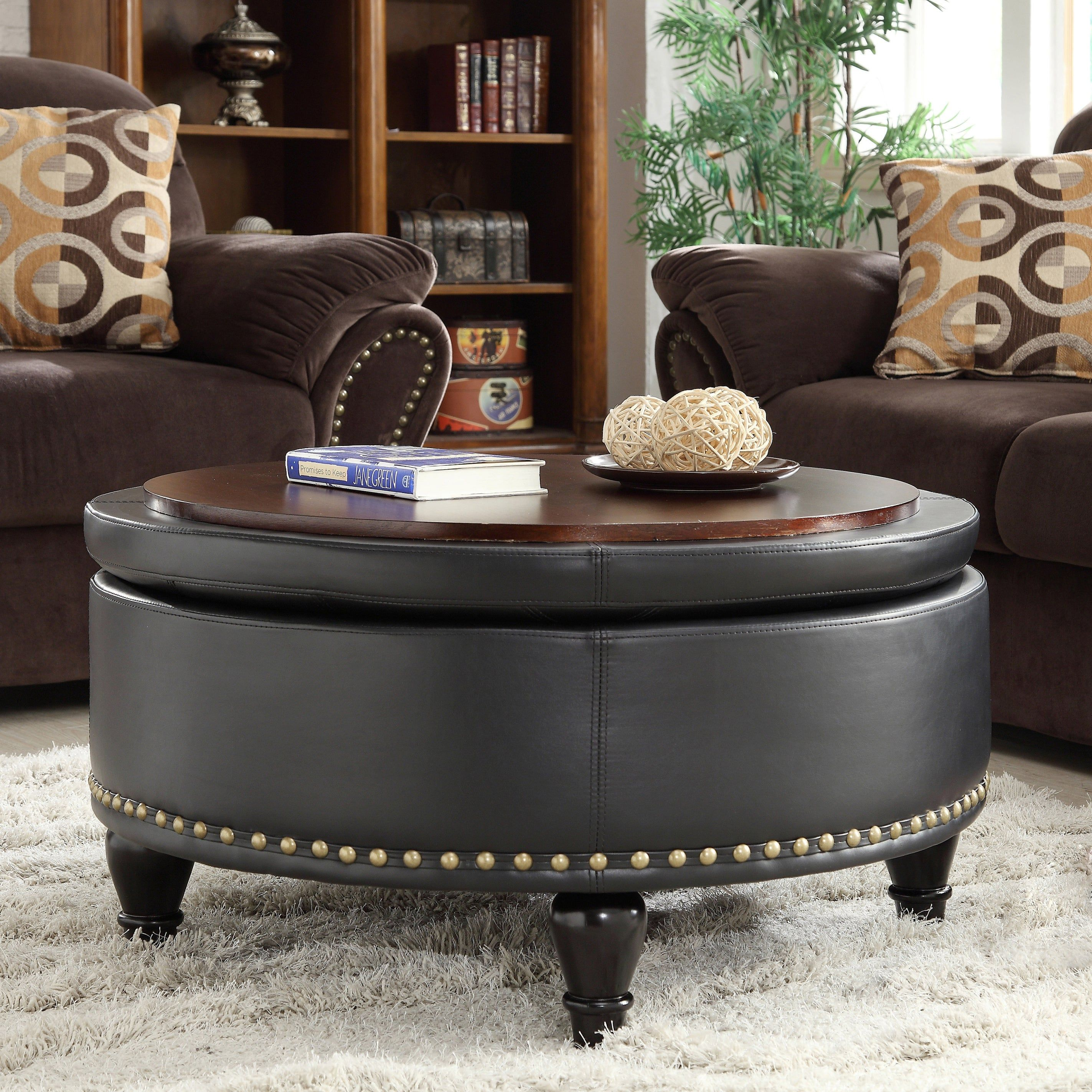 - Gracewood Hollow Belamri Round Storage Ottoman In Espresso (As Is