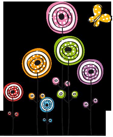 Vinilo infantil flores abstractas y mariposa  proyecto detalles