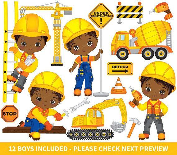 Construction Boys Clipart Vector Construction Clipart Boys Etsy Kids Clipart Clip Art Clipart Boy
