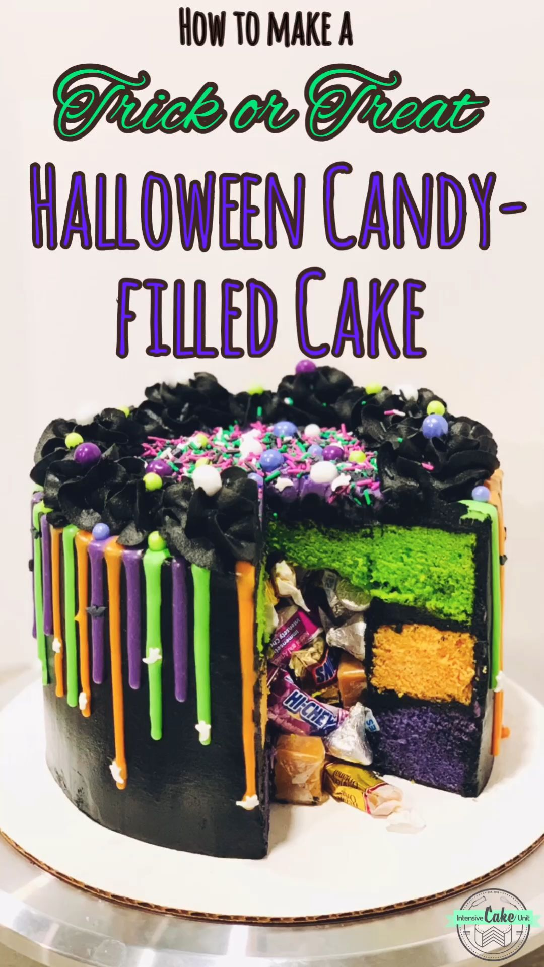 "Halloween Candy-filled ""Trick or Treat"" Cake #halloweencakes"