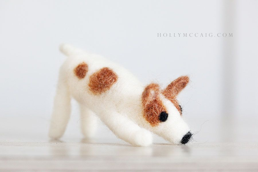 """My mini """"Daisy"""" dog. One of my first attempts at Needle Felting - slowly getting there!"""