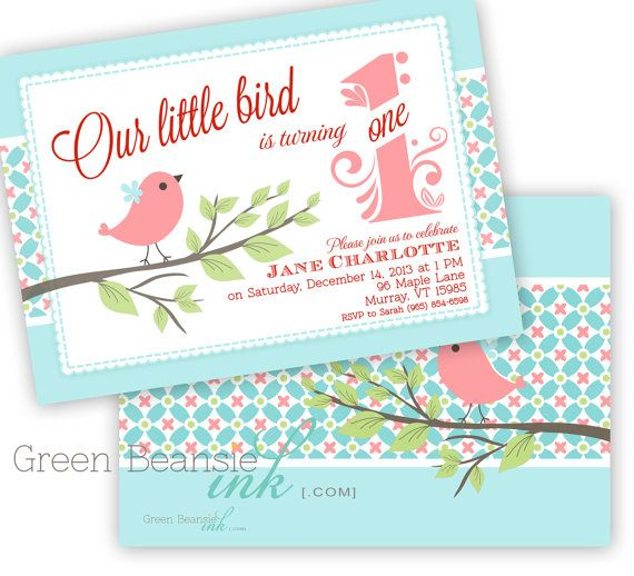 LITTLE BIRD Printable Birthday Party Invitation Printing Available