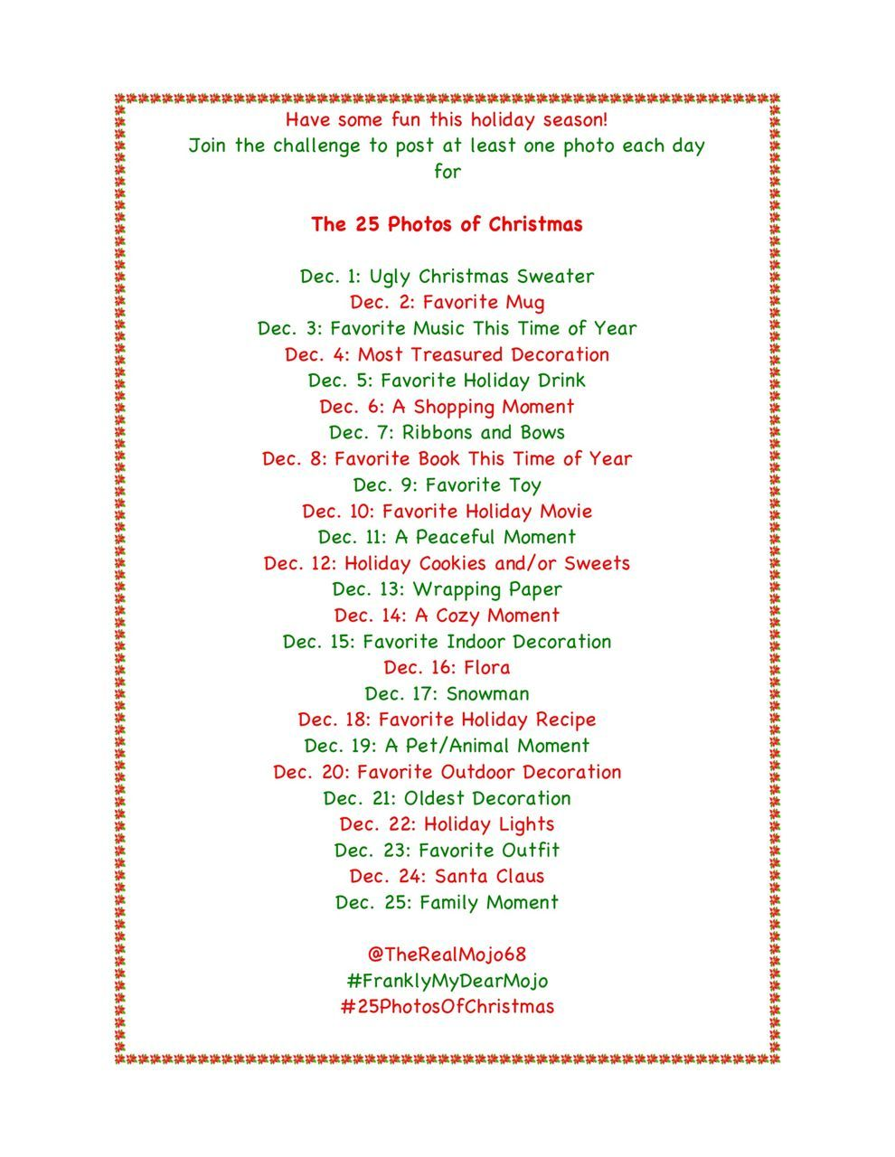 Christmas Challenge.25 Days Of Christmas Instagram Challenge I Want To Do