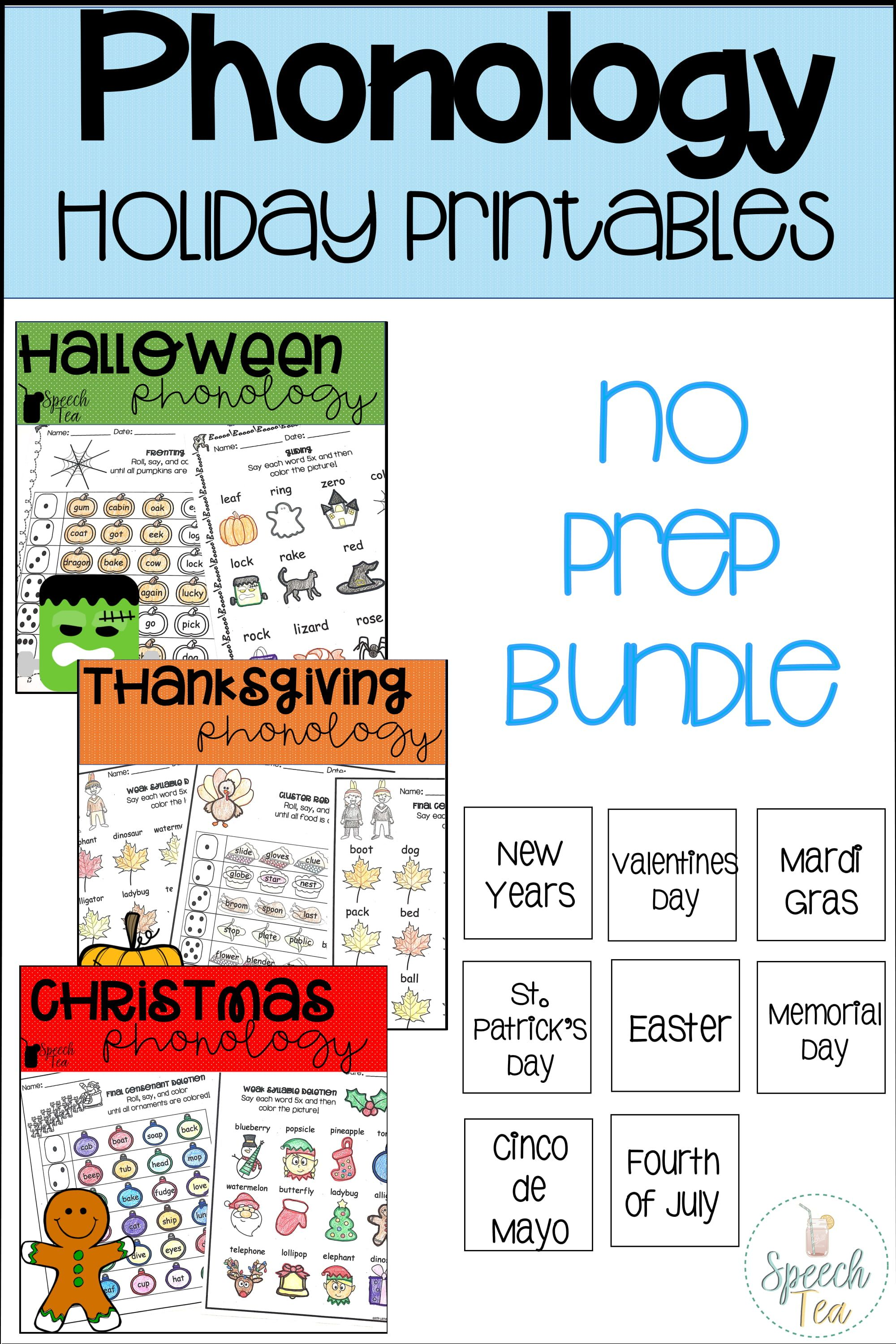 Phonological Processes Printables Bundle Holiday Edition