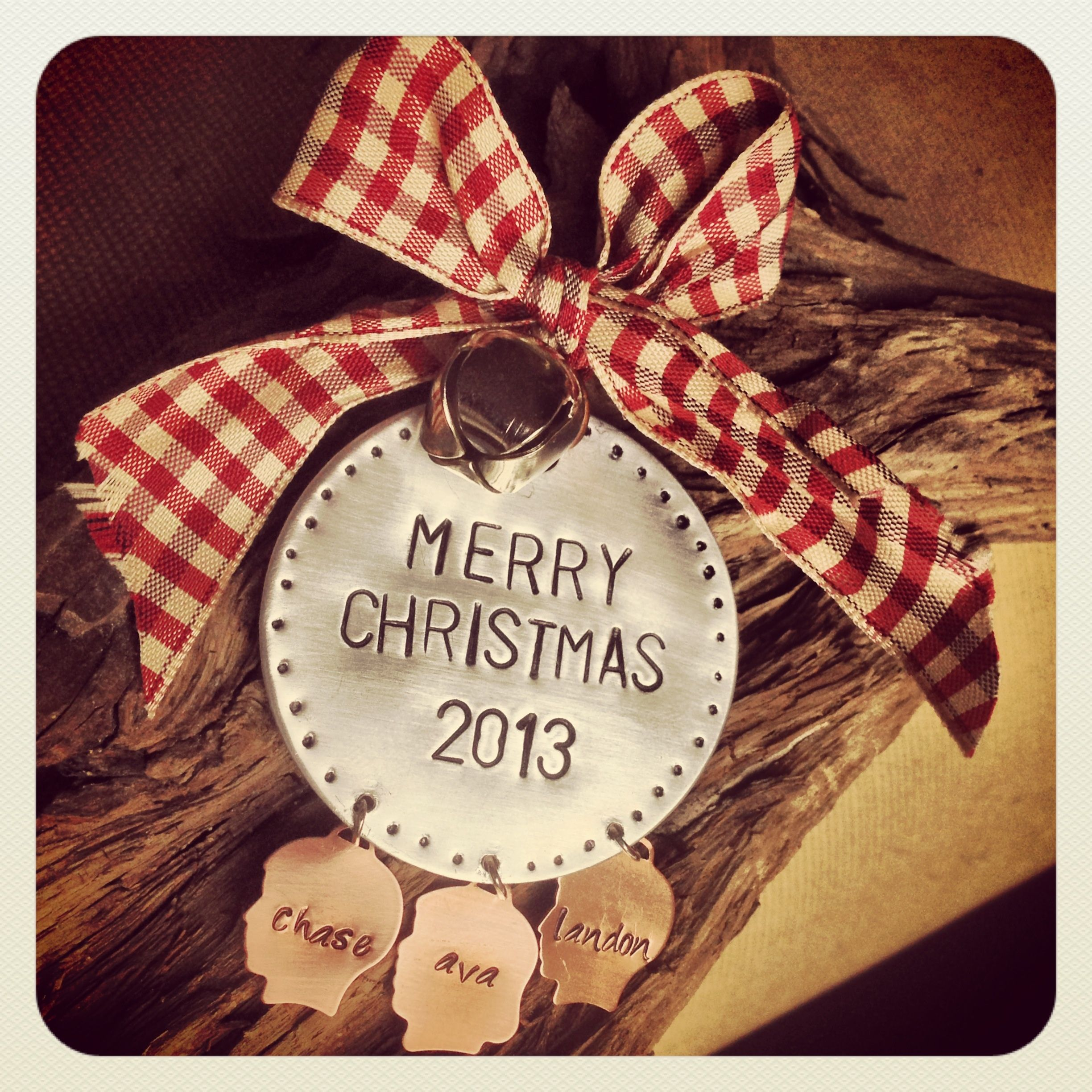 Beautiful hand stamped Christmas ornament featuring copper