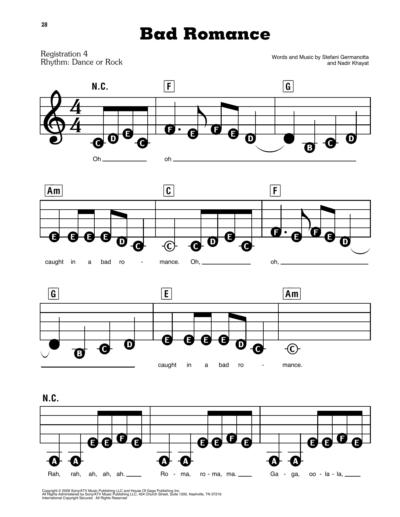 Lady Gaga Bad Romance Sheet Music Notes, Chords in 15   Sheet ...
