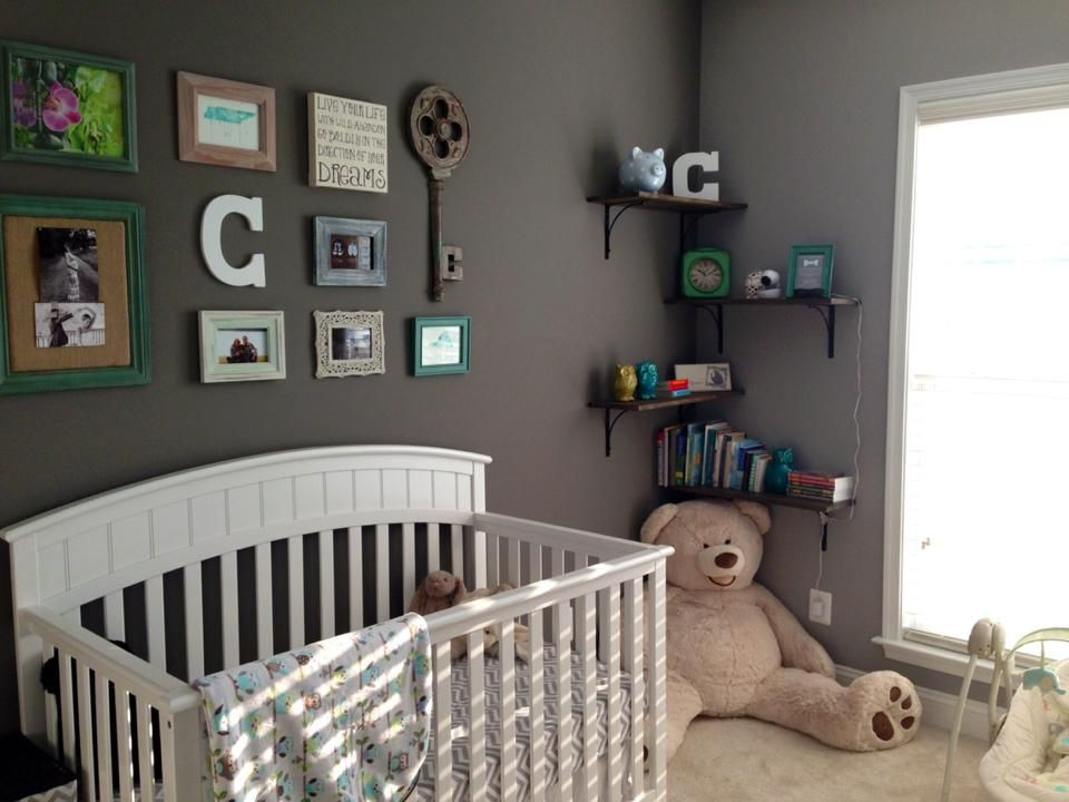 Baby boy nursery with collage wall greynursery baby miz Nursery wall ideas