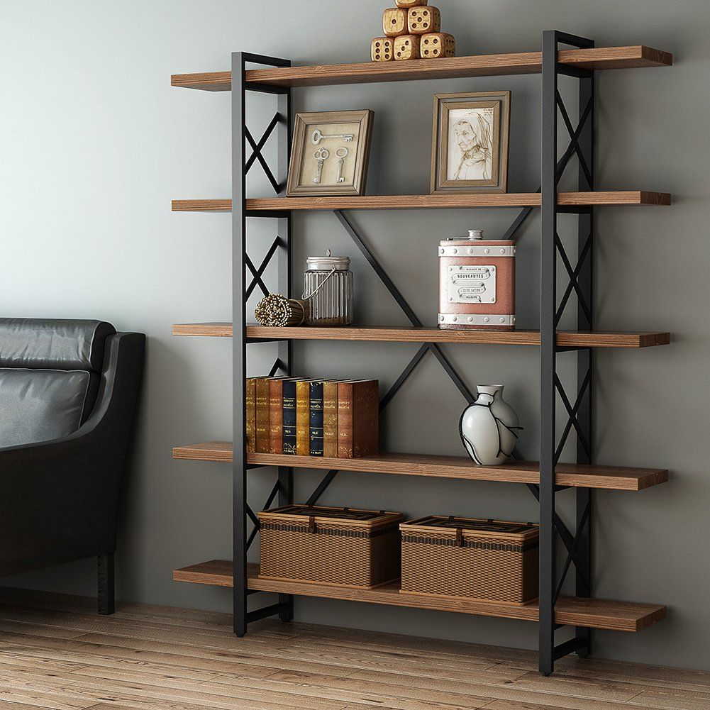 Little tree solid wood 5 shelf industrial style bookcase and book shelves metal and wood