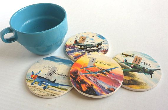 Airplane Coasters-World War II Fighter Jets-Set of 4 Ceramic Coasters-Gifts for Dad