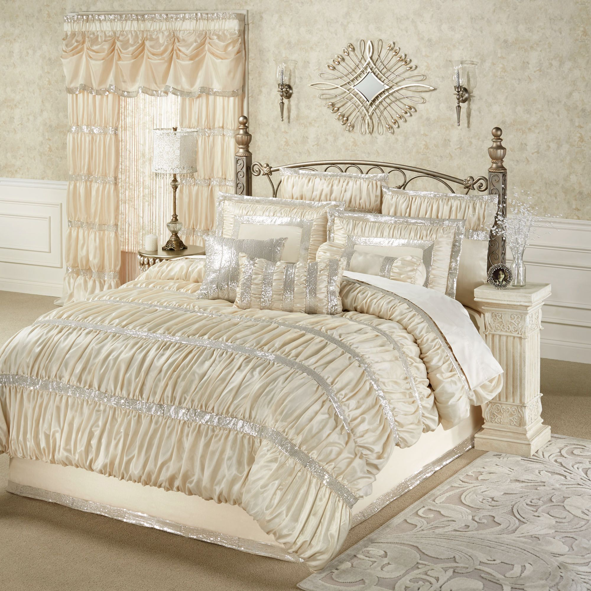 radiance shirred faux silk comforter bedding from touch of class httpwwwtouchofclasscomradiance comforter set champagnepu003 001 - Touch Of Class Bedding