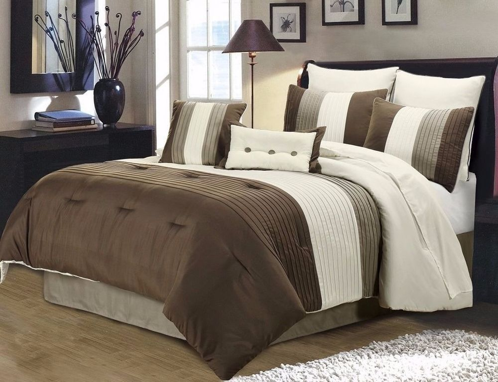 8pc Pintuck Pleated Stripe Brown Ivory And Taupe Comforter Set King Comforter Sets Brown Comforter Sets Taupe Comforter