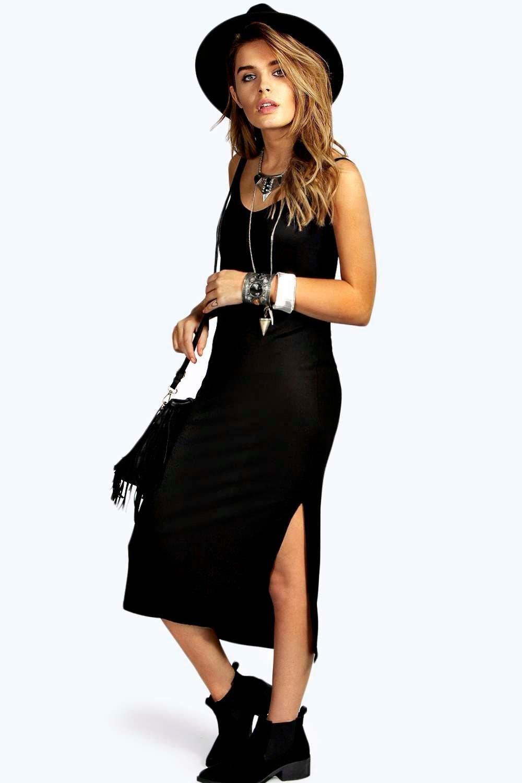 7d4bfac26d Zoe Side Split V Neck Calf Length Dress