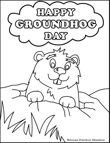 Happy groundhog day coloring page for kids