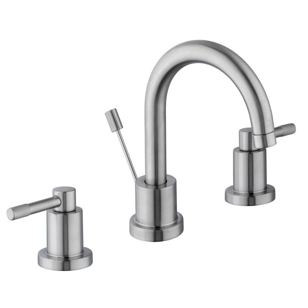 Schon 8 in. Widespread 2-Handle High-Arc Bathroom Faucet in Brushed ...