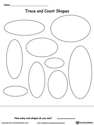 trace and count oval shapes shapes worksheets worksheets and activities. Black Bedroom Furniture Sets. Home Design Ideas
