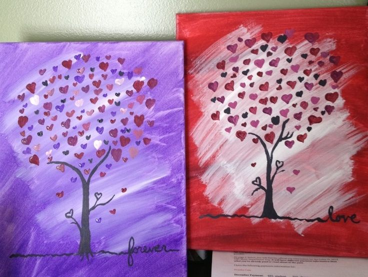 Cute tree canvas paint idea for wall decor. Hearts. Tree's. purple, pink and red. Valentine's. Love. Canvas painting.