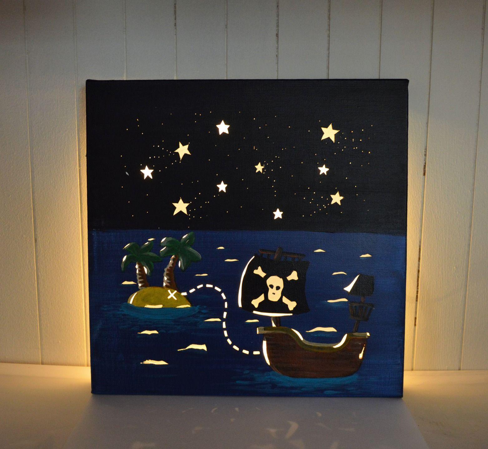 tableau lumineux led d coration murale chambre d 39 enfant 39 bateau de pirate 39 en 2018 d co. Black Bedroom Furniture Sets. Home Design Ideas