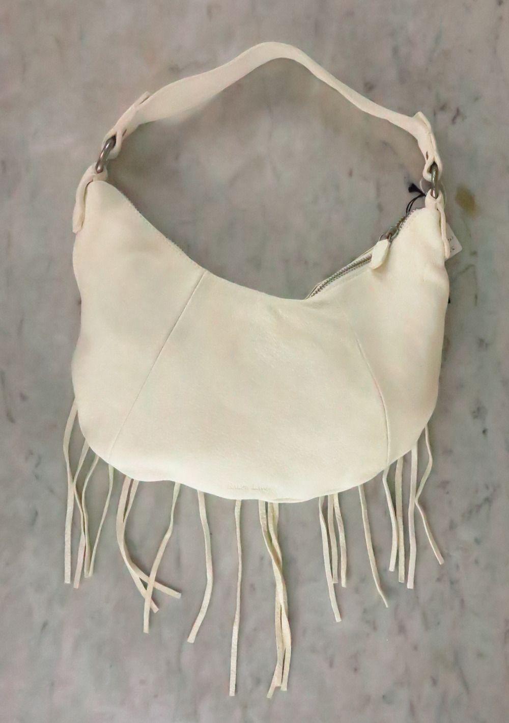 Ральф Лорен белый мягкий кожаный бахромой плеча сумку СЗТ изображения 3