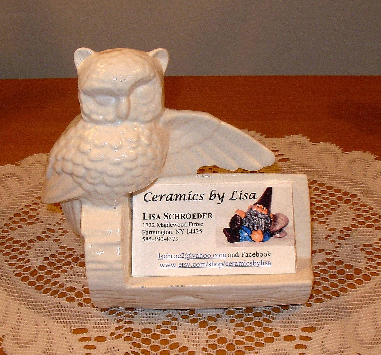 Ceramic Owl Business Card Holder Classic White Vintage Design