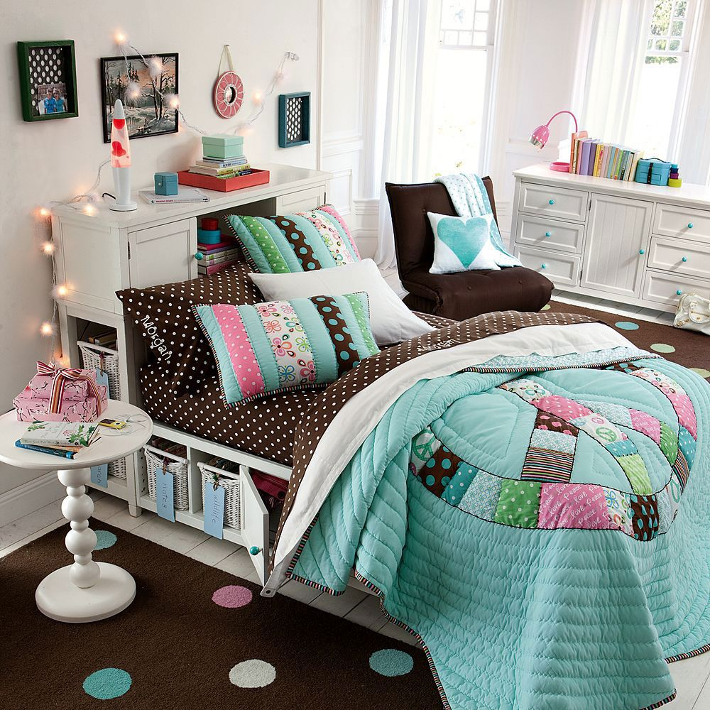 Beauteous Girls Bedroom Decorating Idea For Teen With Wooden Storage Bed  And Brown Polka Dots Bedding Set And Peace Patch Comforter Also Round White  Bedside ...