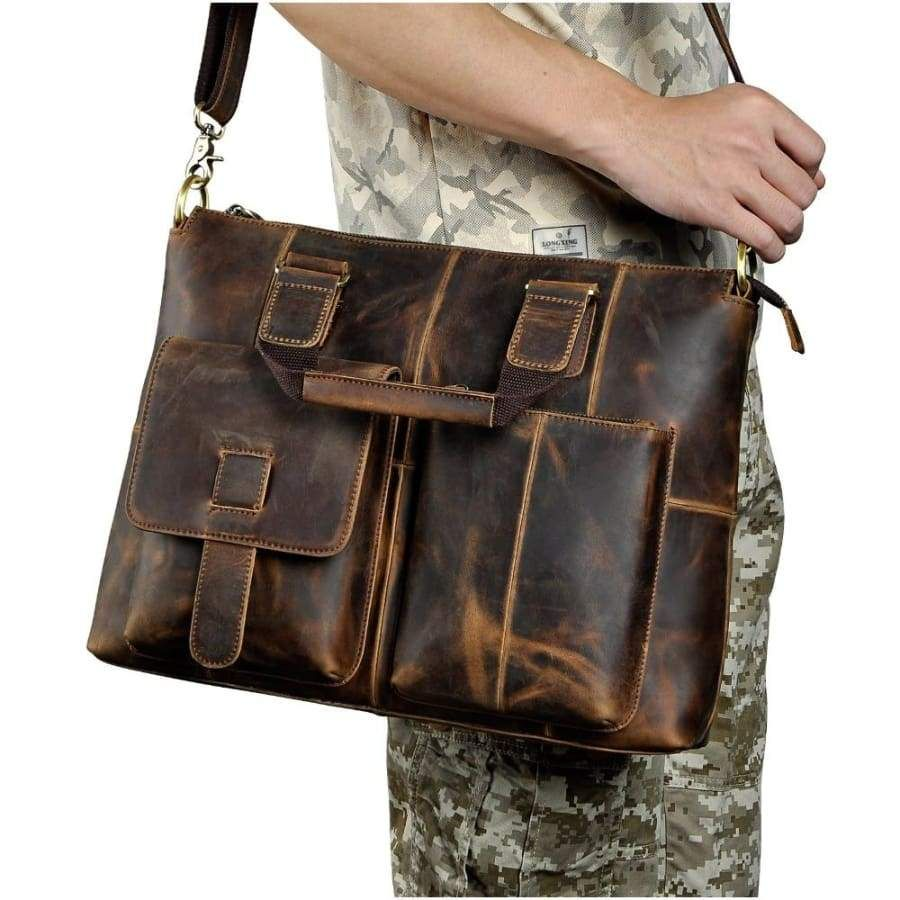Photo of Men quality leather antique retro business briefcase – coffee