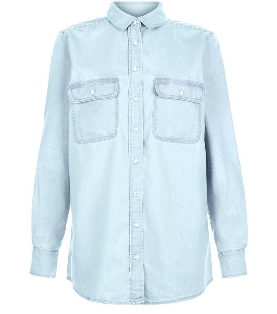 e4ebfc79aaa Light Blue Denim Oversized Long Sleeve Shirt
